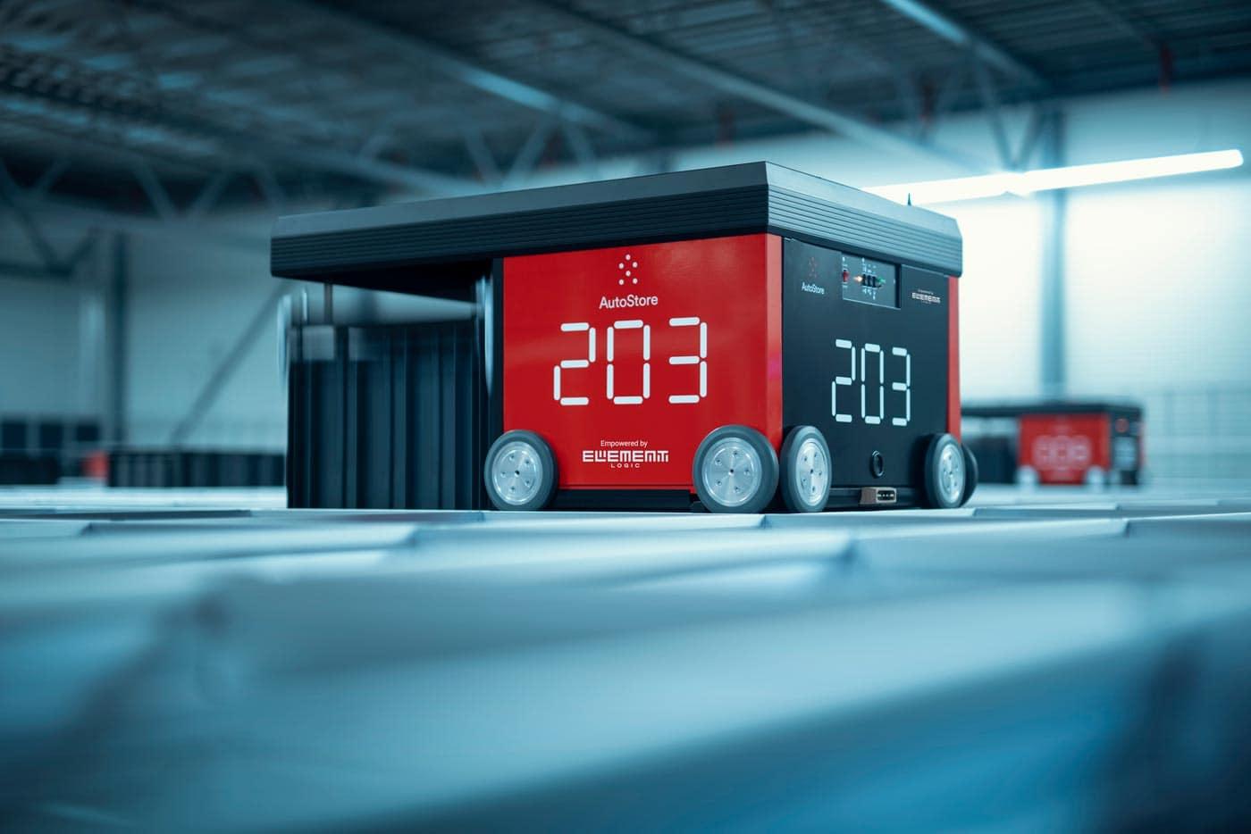Robot AutoStore wykorzystany w magazynach we współpracy Element Logic