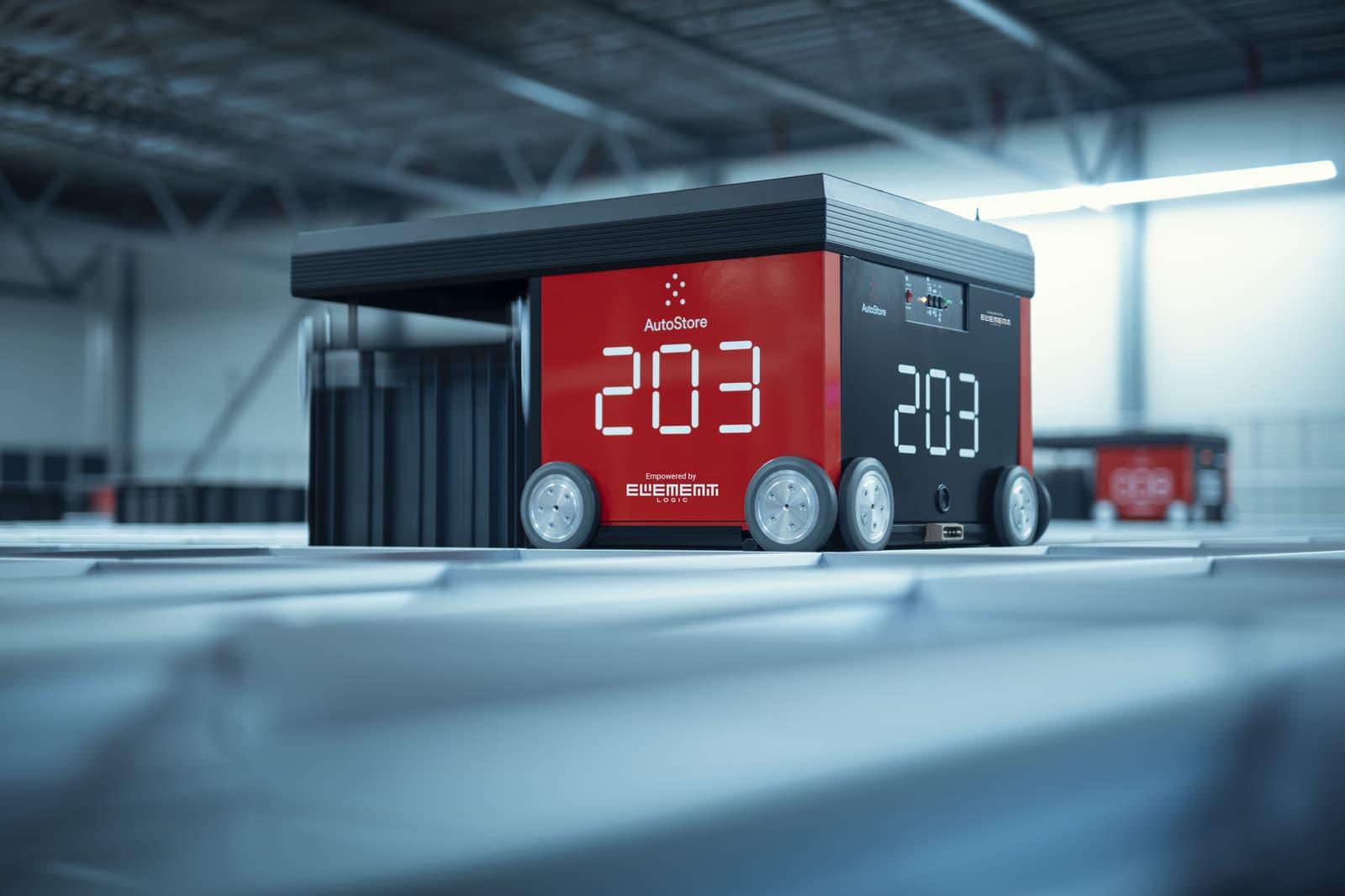 Robot AutoStore w magazynie