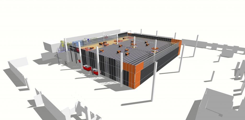 Widok w 3D rozwiązania AutoStore zastosowanego w Hatstore, złożonego łącznie z 18 robotów i 12 000 pojemników magazynowych.
