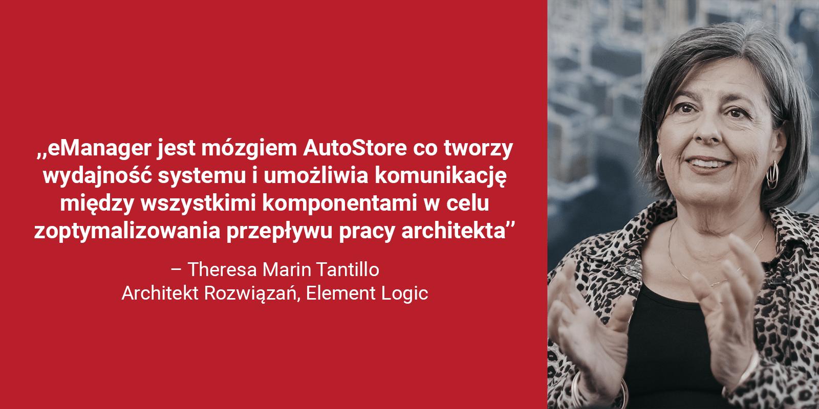 Zbliżenie zdjęcia Theresa Marin Tantillo, Architekt Rozwiązań, Element Logicw czerwonym polu zcytatem: