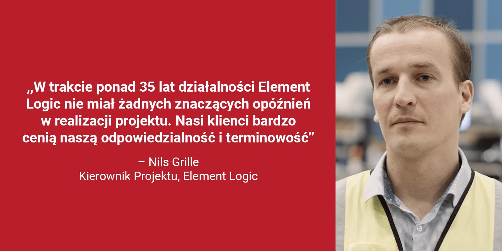Zbliżenie zdjęcia Nils Grille, Kierownik Projektu, Element Logic w czerwonym polu zcytatem: