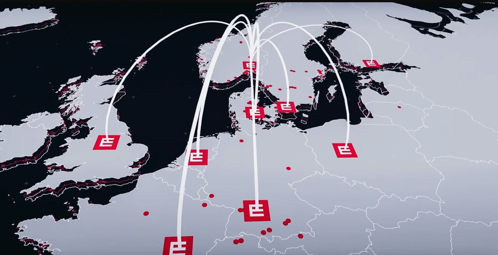 Mapa Europy z obecnością firmy Element Logic